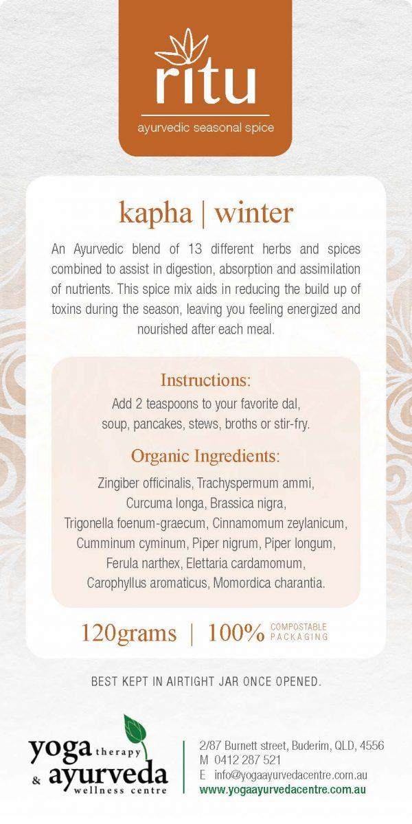 Rita kapha winter - kapha ayurvedic cooking spice